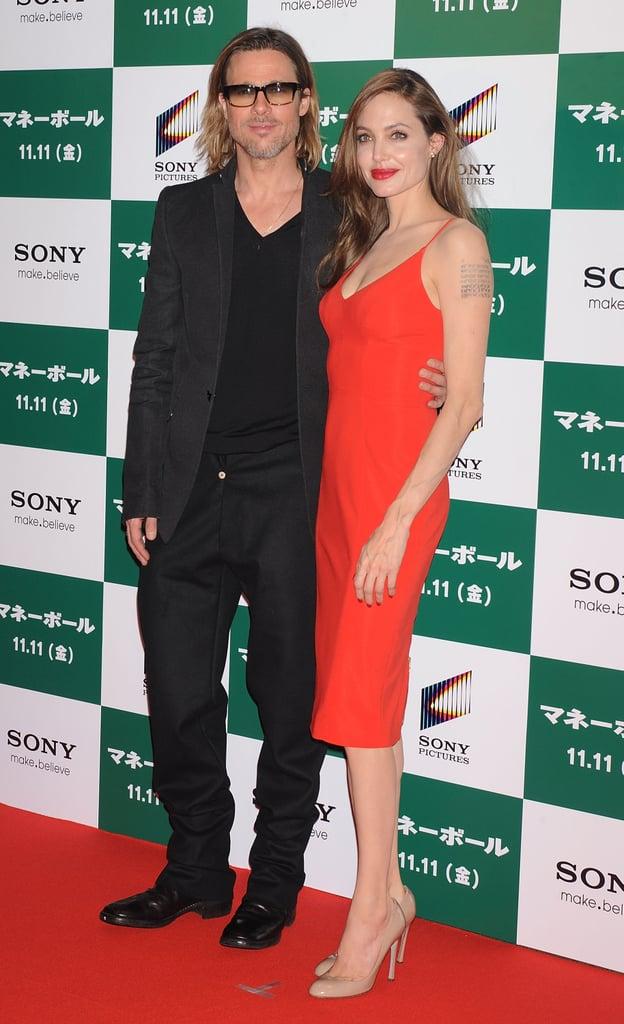 Angelina Jolie made the trip to Tokyo with Brad Pitt in November 2011 where he screened his baseball drama, Moneyball.