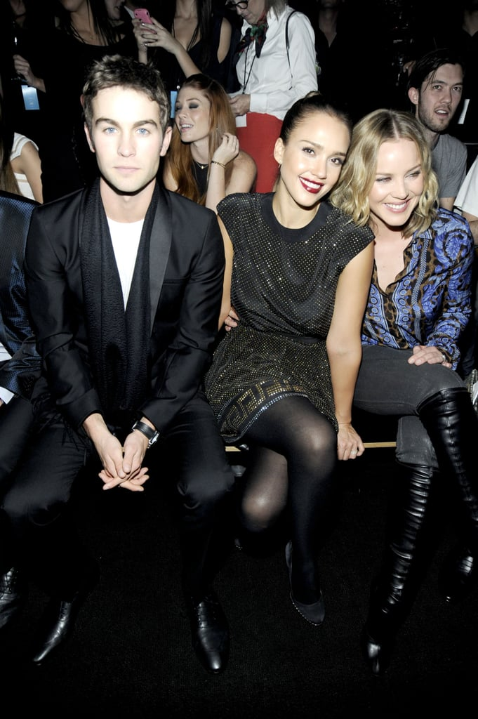 Chace Crawford, Jessica Alba, and Abbie Cornish in the front row of Versace for H&M's fashion show.