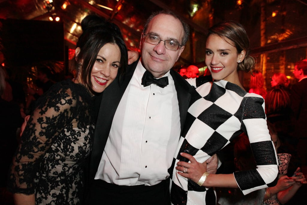 Jessica Alba showed off her costume change with other Weinstein guests Sunday night.