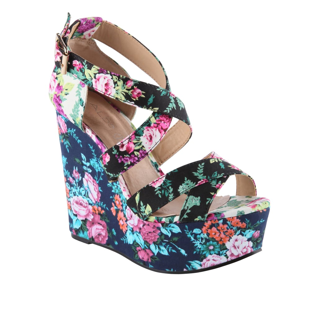 A fresh floral print to style up cropped white skinnies — and these babies are under $100.  Aldo Rinks Wedges ($80)