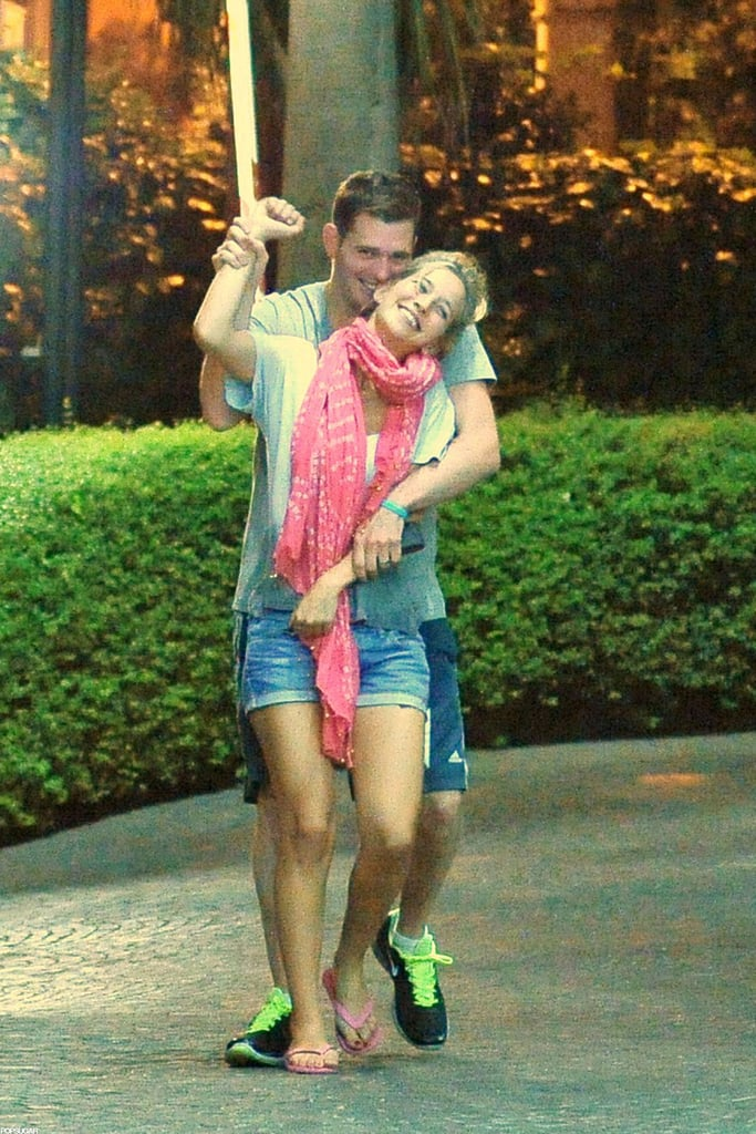 Michael Bublé and wife Luisana Lopilato hugged and laughed in Rome in July 2012.