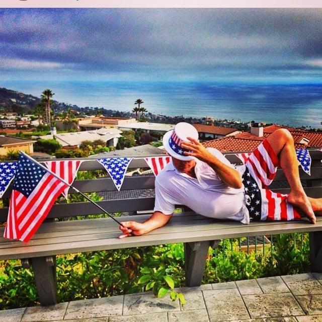 Adam Shankman was surrounded by American flags. Source: Instagram user adamshankman