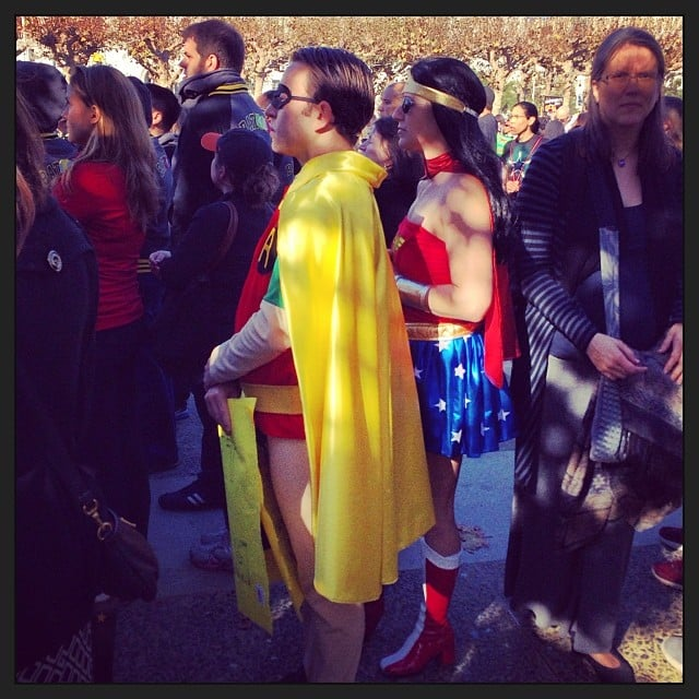 Fellow superheroes gathered to see Batkid receive a key to the city. Source: Instagram user jennebarbour