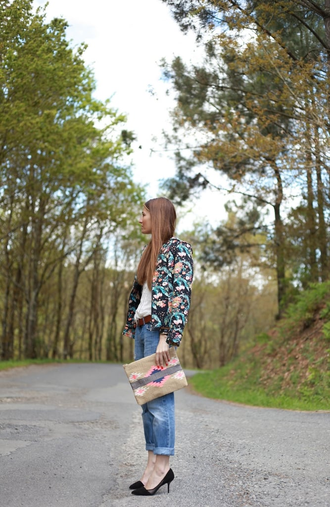Straddle the seasons with a floral-print jacket up top and boyfriend jeans on the bottom — then dress it all up, like so, with a pair of classic pumps. Source: Lookbook.nu