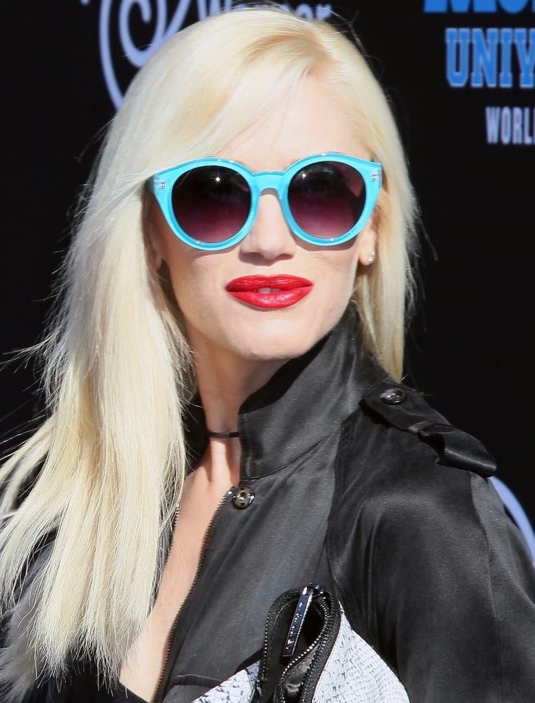 For the premiere of Monsters University in Hollywood, Gwen Stefani aptly wore these Quay Eyewear turquoise-blue sunglasses ($40) to match the blue carpet.