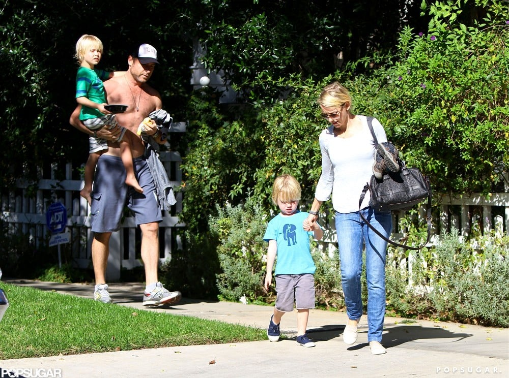 Naomi Watts and Shirtless Liev Spend Sunday With the Kids