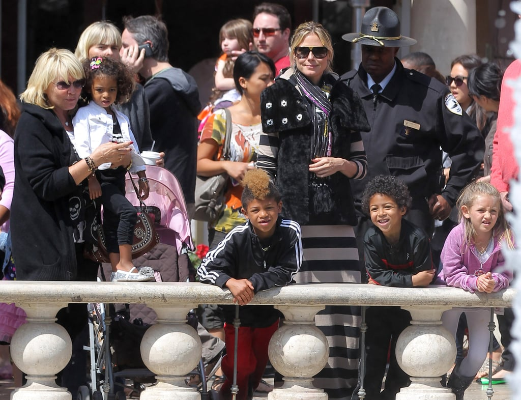 Heidi Klum went to The Grove in LA Sunday with kids Lou, Leni, Johan, and Henry.