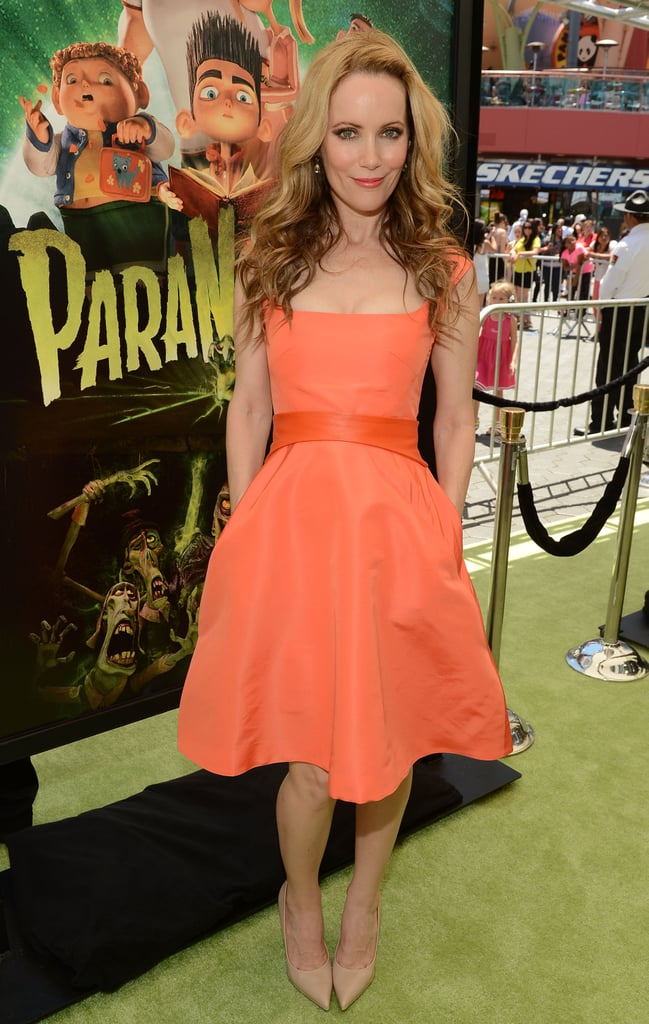 The orange Monique Lhuillier knee-length dress Leslie Mann wore to the LA premiere of ParaNorman made a great match with her nude pumps — and we think this duo would also look fantastic at a sunny outdoor affair, especially if the bride is also wearing a taffeta confection.