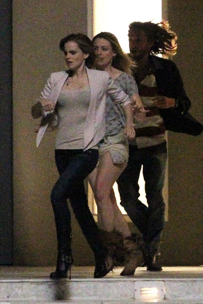 Emma Watson filmed a party scene on the set of The End of the World in NYC.