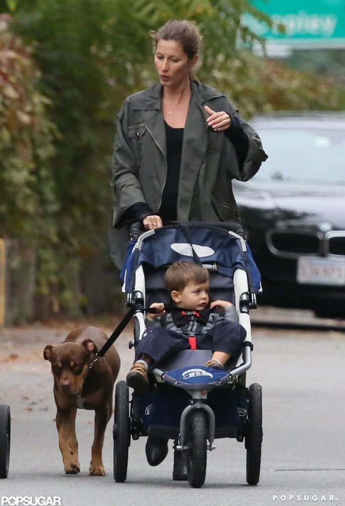 Gisele Bündchen took Benjamin Brady and their dog Lua for a September stroll in Boston.