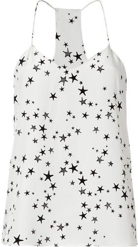 Tibi Ivory/Black Star Print Silk Tank Top