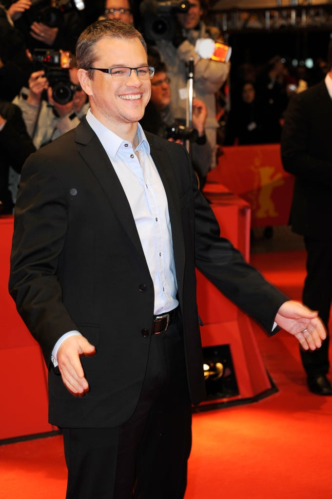 Matt Damon smiled on the red carpet Friday night in Berlin at the premiere of his film Promised Land.