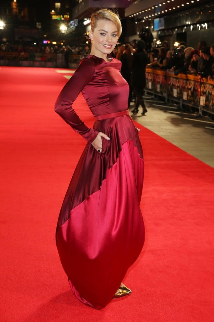 Margot Robbie in Oscar de la Renta at the London premiere of The Wolf of Wall Street.