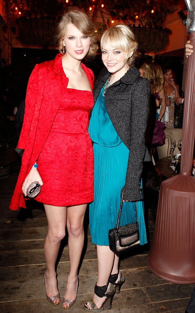 """Taylor Swift and Emma Stone met at the Young Hollywood Awards four years ago, and their friendship blossomed from there. Taylor told us in 2011 that Emma is """"like a sister to me. She can predict my thoughts."""""""