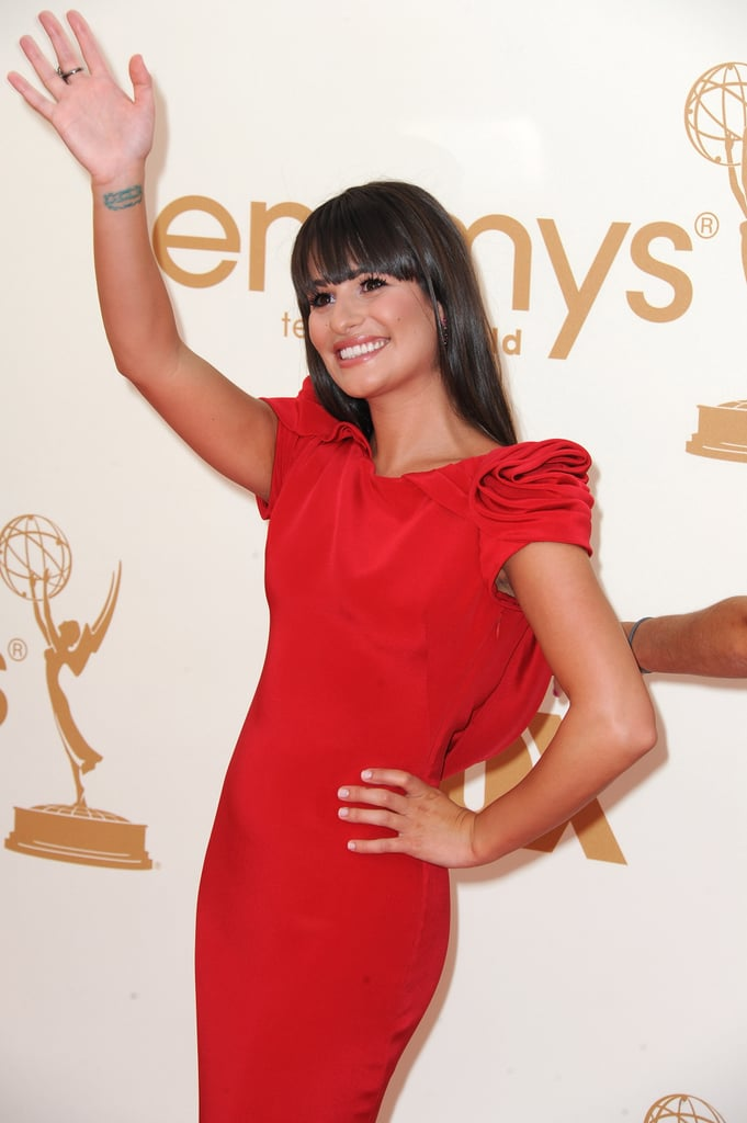 Lea Michele waved to her fans at the 2011 Emmy Awards.