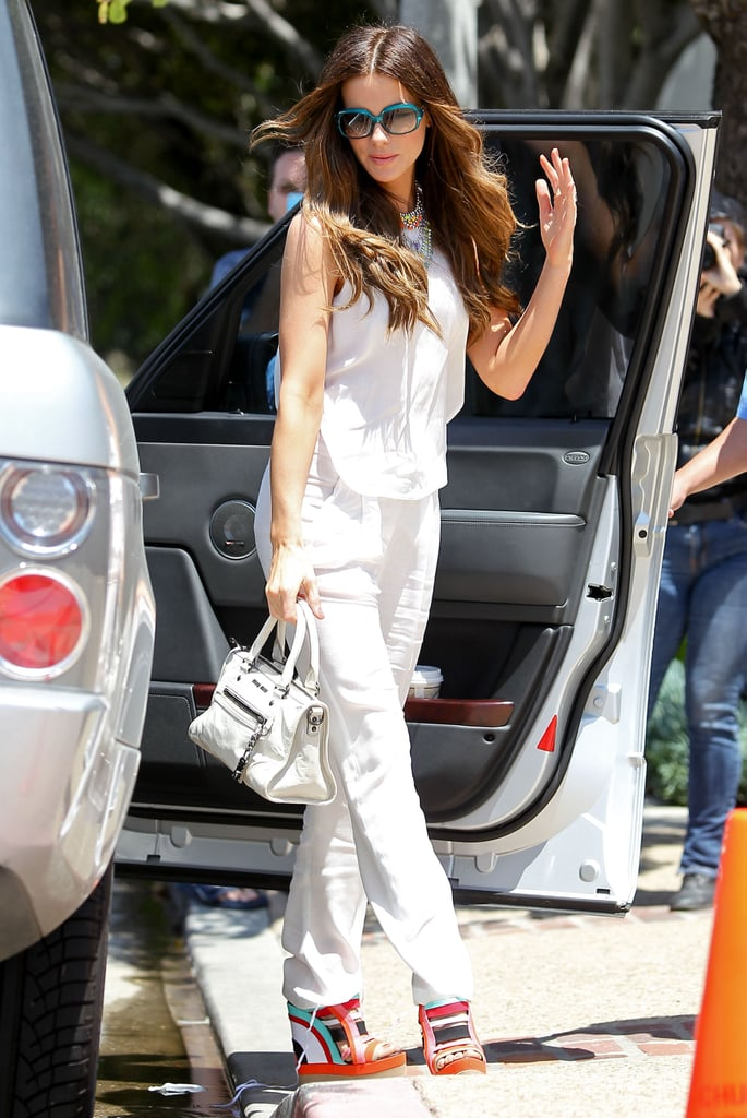 Kate Beckinsale got out of her car to go to Joel Silver's Memorial Day party in LA.