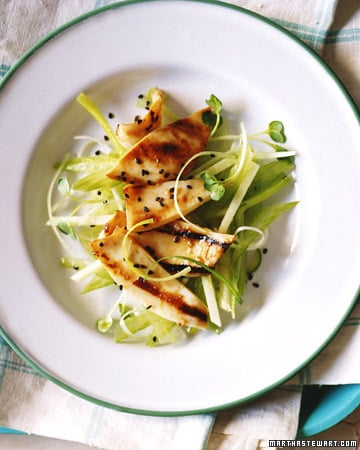 Fast & Easy Recipe For Grilled Squid With Ginger, Celery, and Apple Slaw