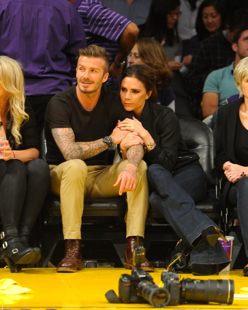 David Beckham and Victoria Beckham showed PDA during a Lakers game in May 2012.