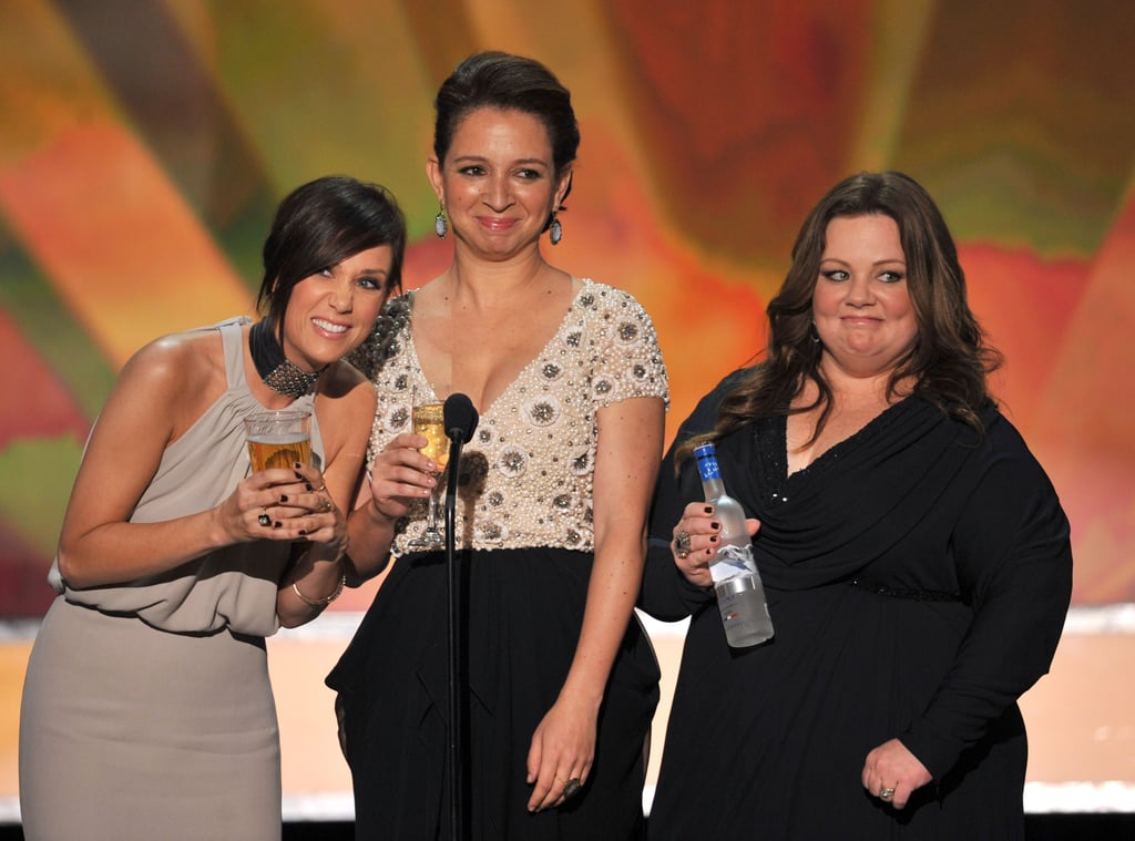 Bridesmaids actresses Kristen Wiig, Maya Rudolph, and Melissa McCarthy were the rowdiest presenters in 2012.