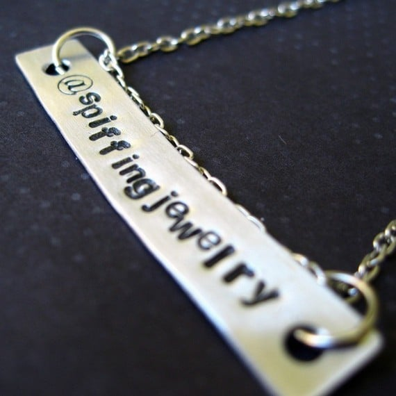 Custom Stamped Twitter Necklace ($18)