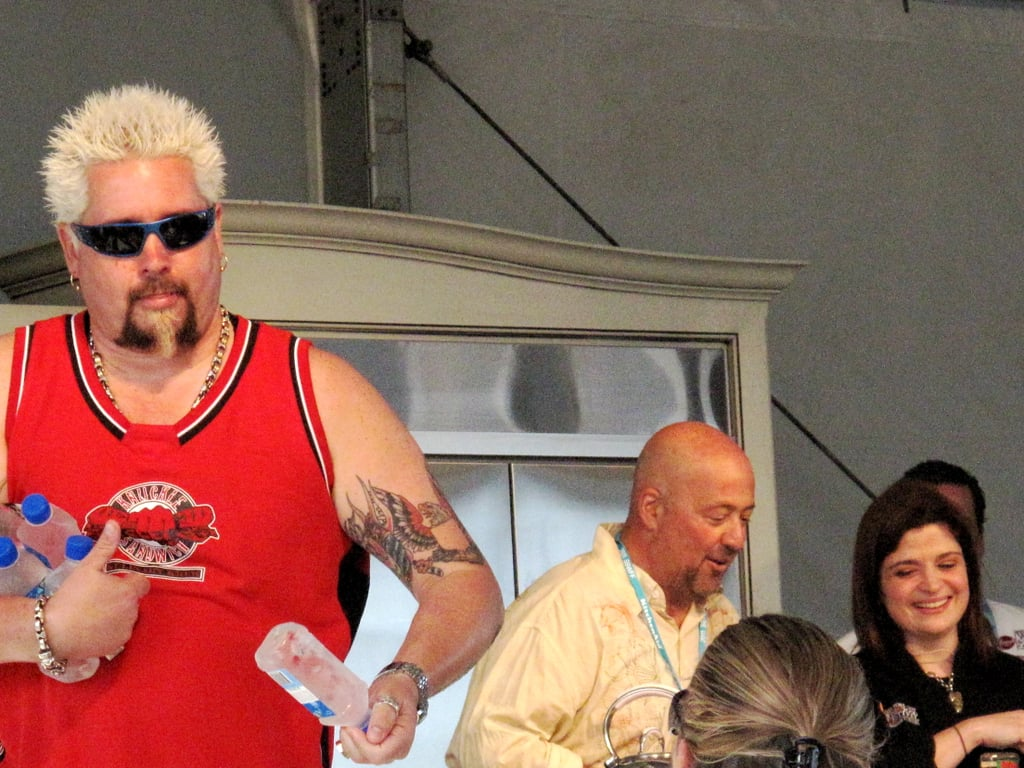 At Alex's sweltering, sun-filled demo, Guy Fieri got up to the front of the stage to throw bottles of ice-cold Fiji water to members of the audience.