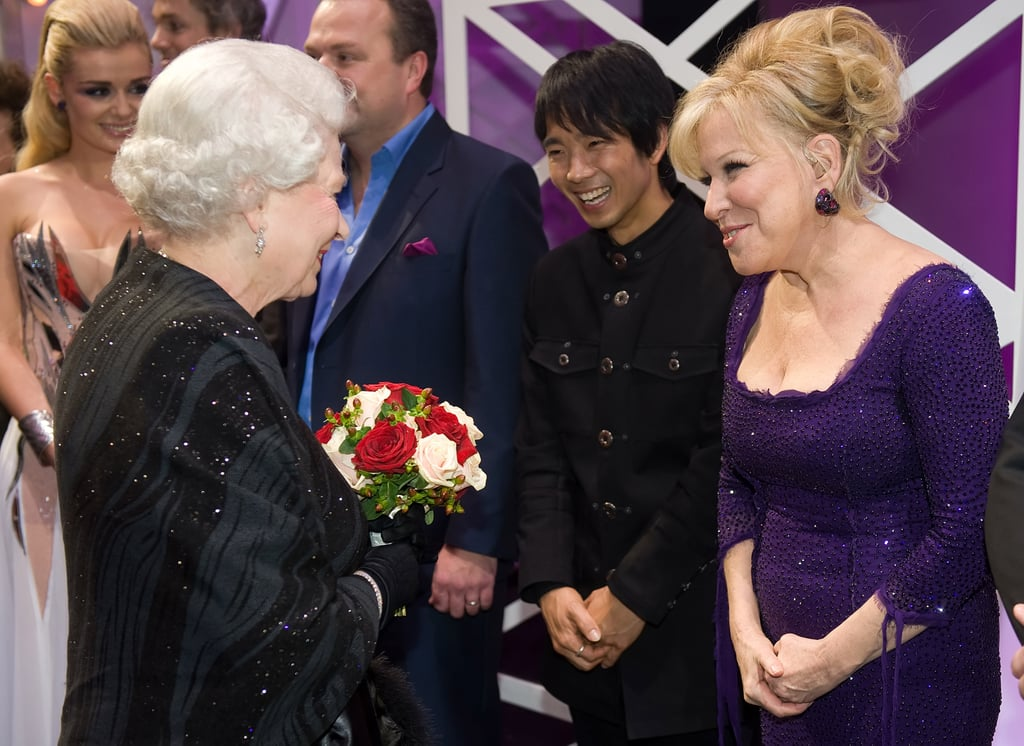 Queen Elizabeth and Bette Midler made each other's acquaintance after the Royal Variety Performance in December 2009 in Blackpool, England.