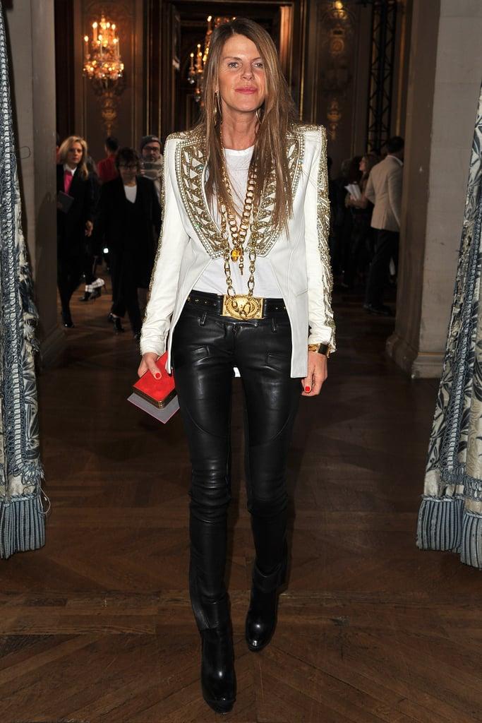 Anna Dello Russo went leather chic for Stella McCartney.