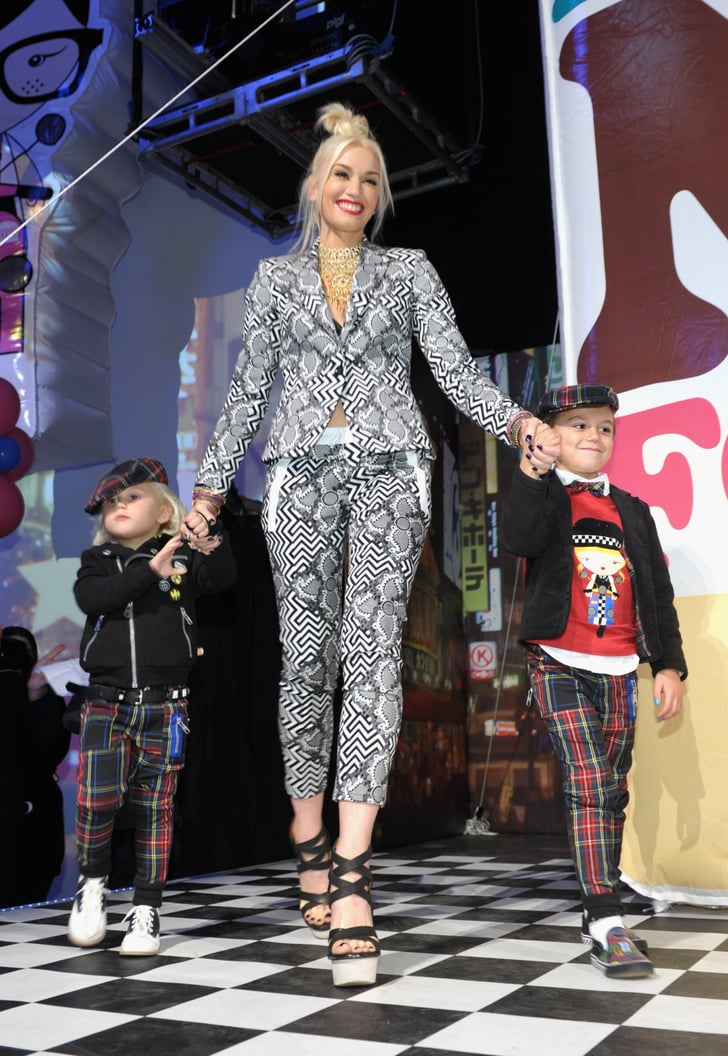 Gwen Stefani held hands with Kingston Rossdale and Zuma Rossdale at her Harajuku Mini launch.
