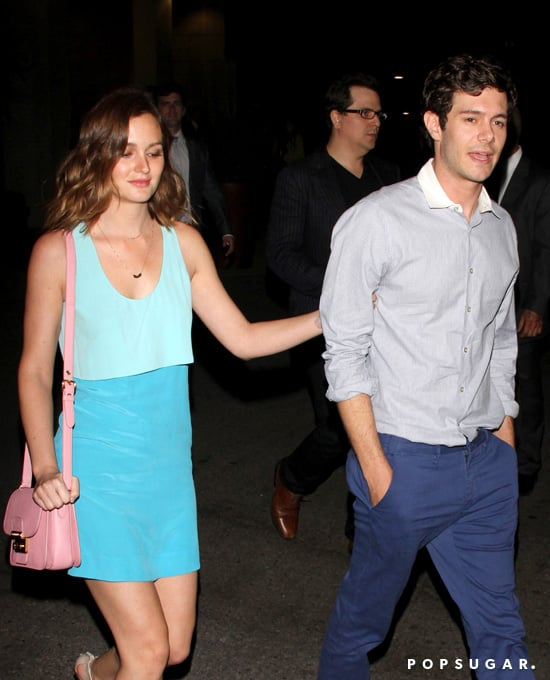 Leighton Meester held on to Adam Brody as they left the afterparty for his film Some Girl(s) in LA.