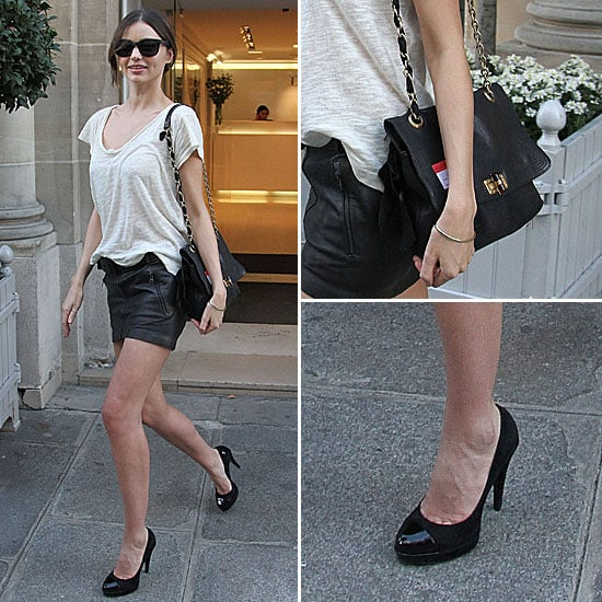 Miranda Kerr Wearing a Leather Miniskirt in Paris