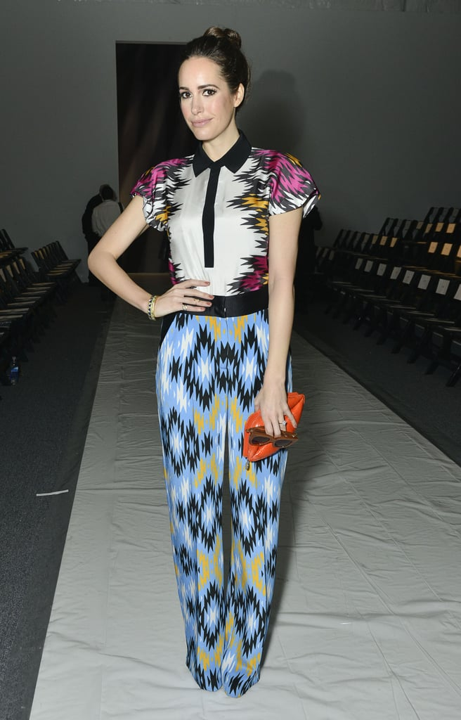 Louise Roe styled a contrast-collar blouse with ikat-print trousers for a perfectly mix-matched ensemble at Bibhu Mohapatra.