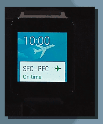 Flight notifications in Android Wear.