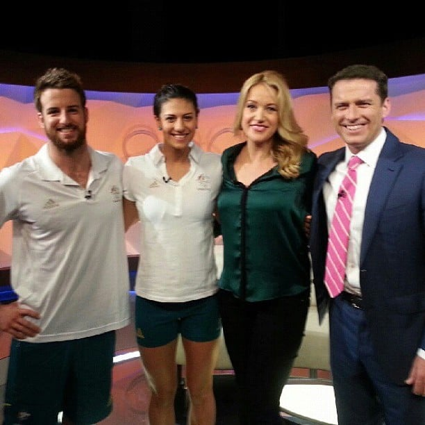 James Magnussen and Stephanie Rice stopped by Channel Nine's London studios. Source: Instagram user itsstephrice