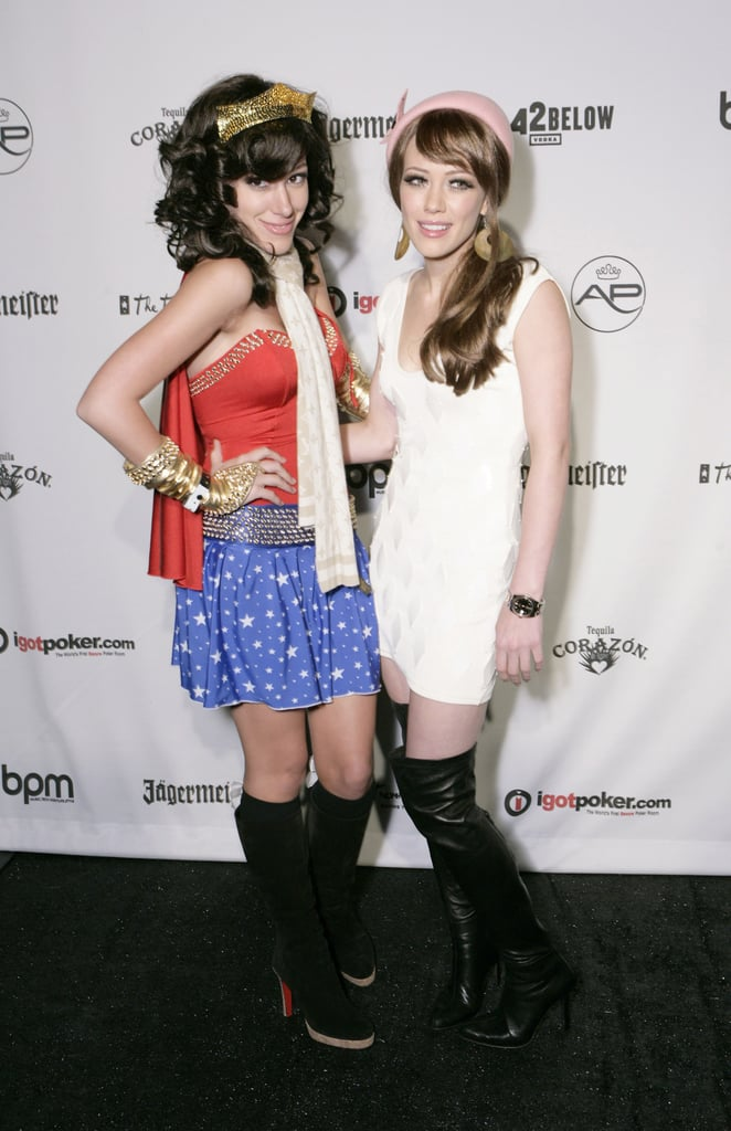 Hilary and Haylie Duff posed in LA wearing their 2005 costumes.