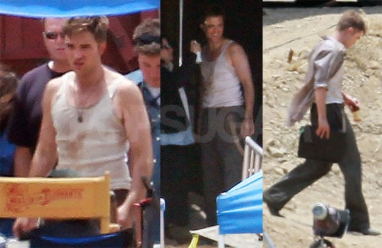 Pictures of Robert Pattinson in Tank Top Filming Water For Elephants