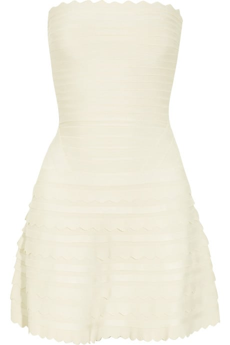 This little strapless makes a superfun option for the bride with a sexier side.  Hervé Léger Scalloped Bandage Dress ($1,590)