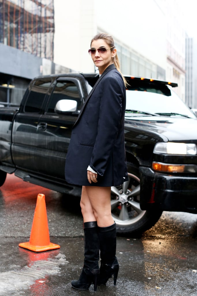 The sexiest take on a cool menswear jacket, thanks to some serious knee-high boots.