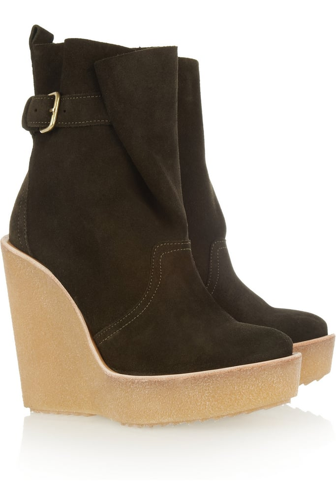 What's not to love about this Pierre Hardy wedge boot ($500)? Its luxe suede finish, cool dark olive hue, and statement rubber-soled wedge make for a boot I'd wear with everything from my casual jeans-and-sweater combos to more dressed-up dress-and-tights pairings. — Marisa Tom, associate editor
