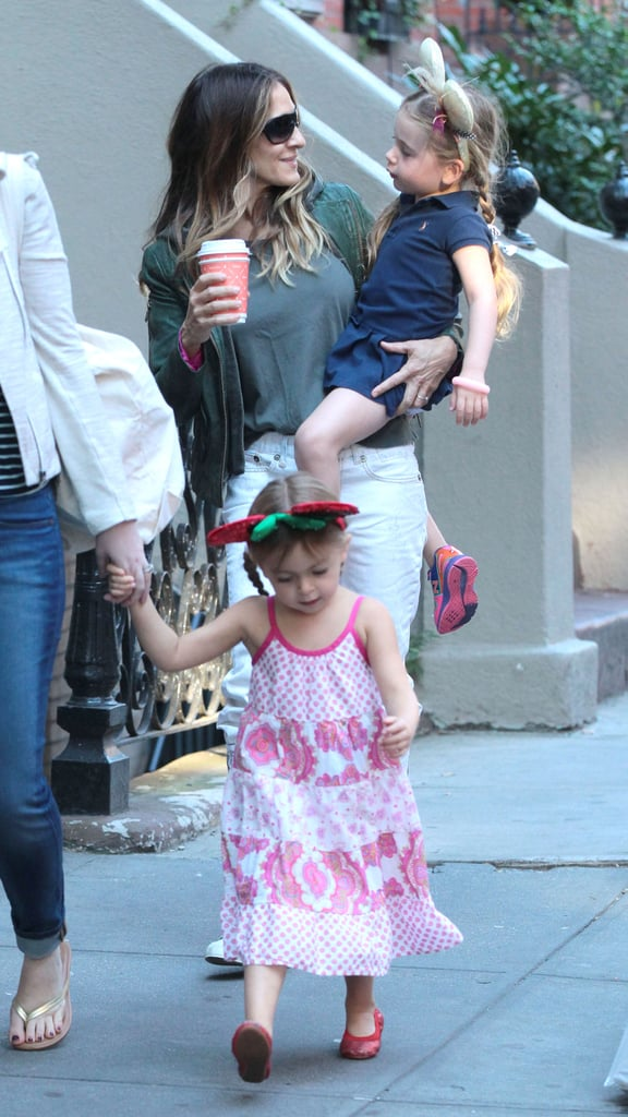 Sarah Jessica Parker headed to school with her daughters, who wore mouse ears.