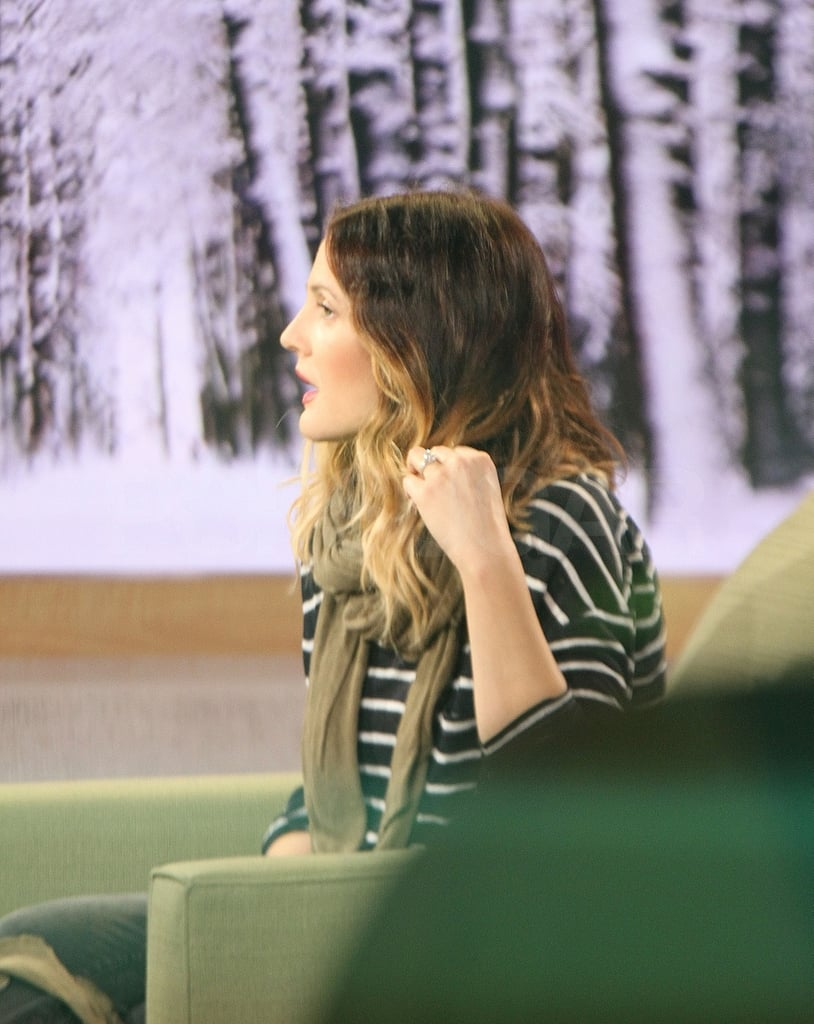 Drew wore a striped shirt for her early morning appearance.