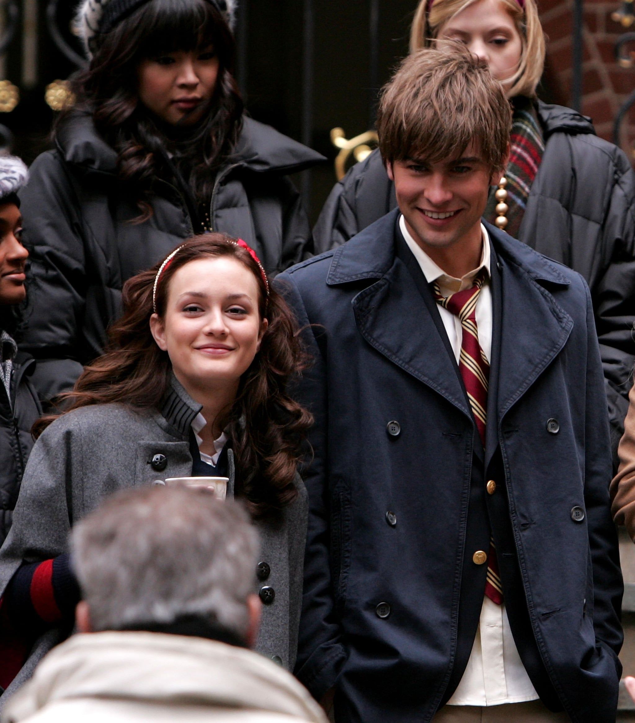 Leighton Meester and Chace Crawford were all smiles on the set in November 2007.