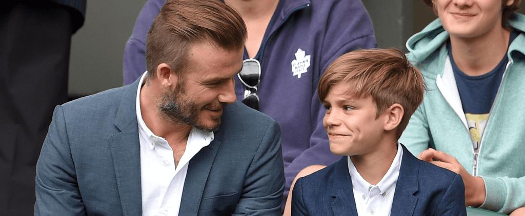 """David Beckham Brings His """"Little Man"""" Romeo to a Wimbledon Match"""