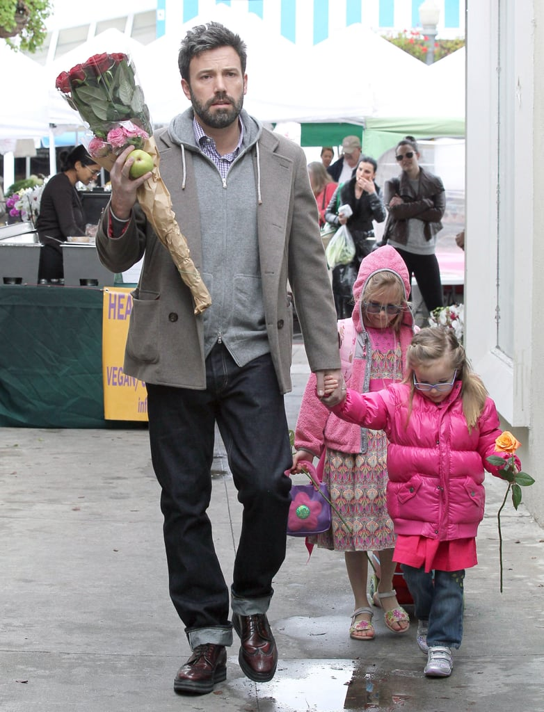 Ben Affleck picked up flowers at a farmers market with his daughters.
