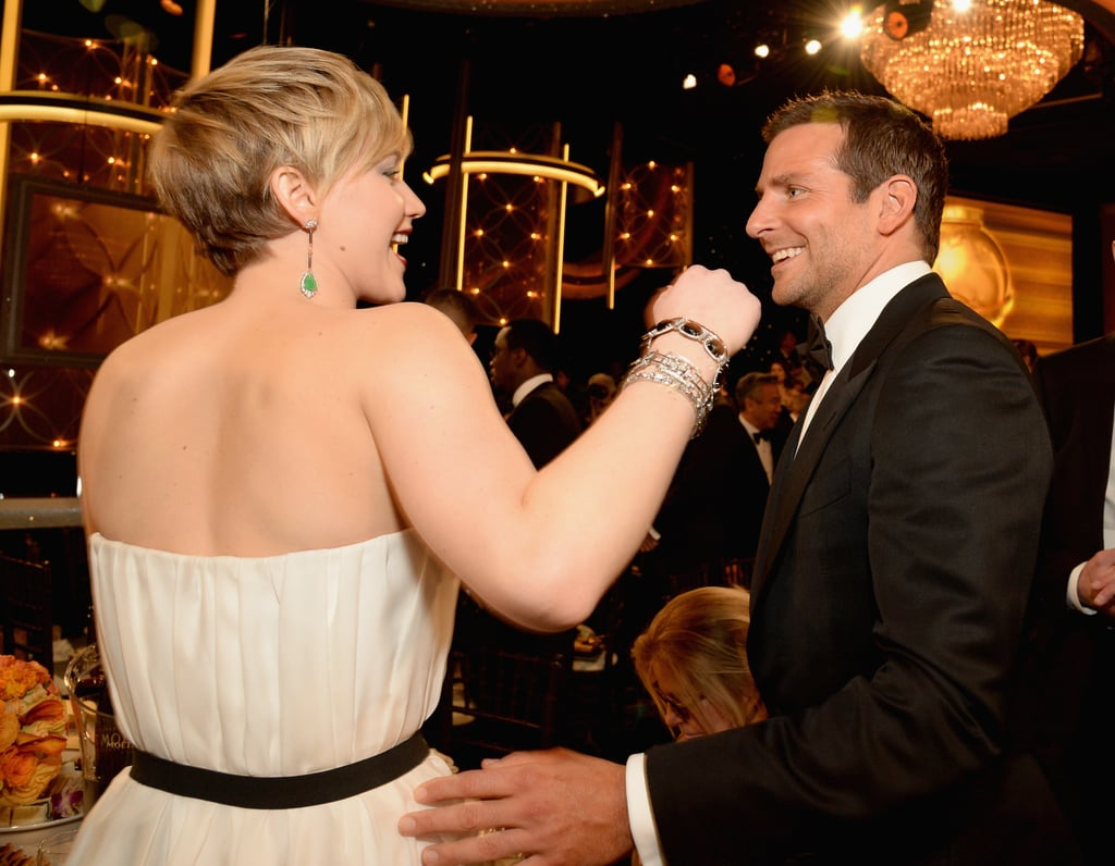 Jennifer Lawrence joked around with Bradley Cooper in 2014.