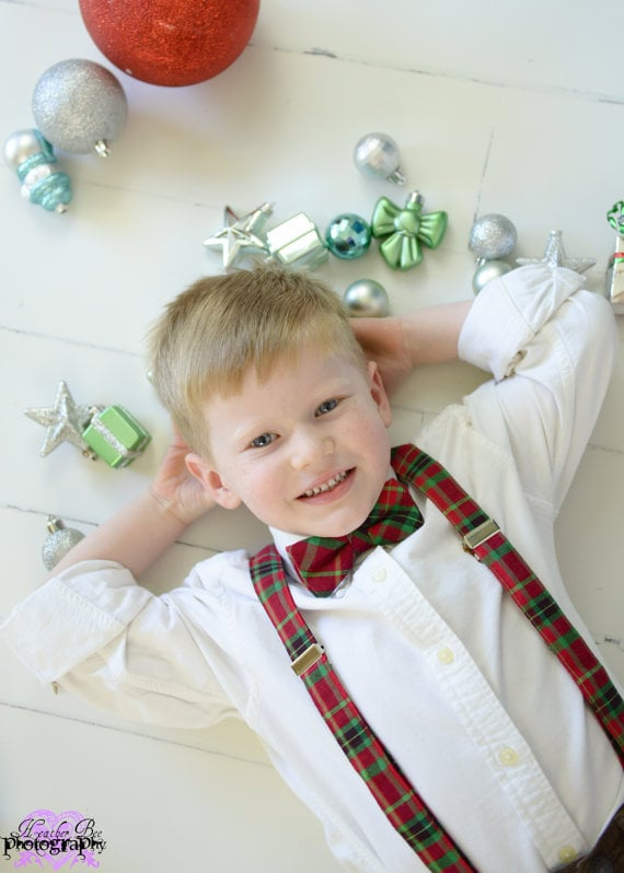 Boys Christmas Bow Tie and Suspender Set