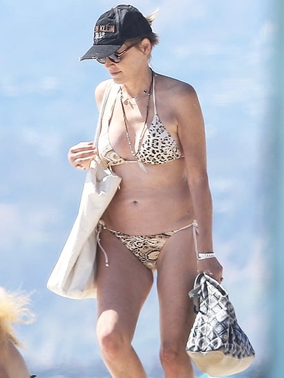 Fit at 58! Sharon Stone Shows Off Fab Figure in Sexy Animal-Print Bikini in Venice Beach