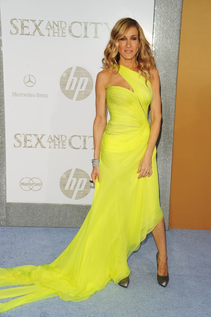 SJP lit up the NYC Sex and the City 2 premiere in a neon one-shoulder Valentino Couture and metallic Ferragamo pumps.