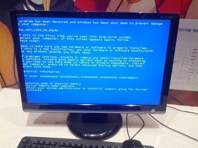 Install the blue screen of death screensaver.