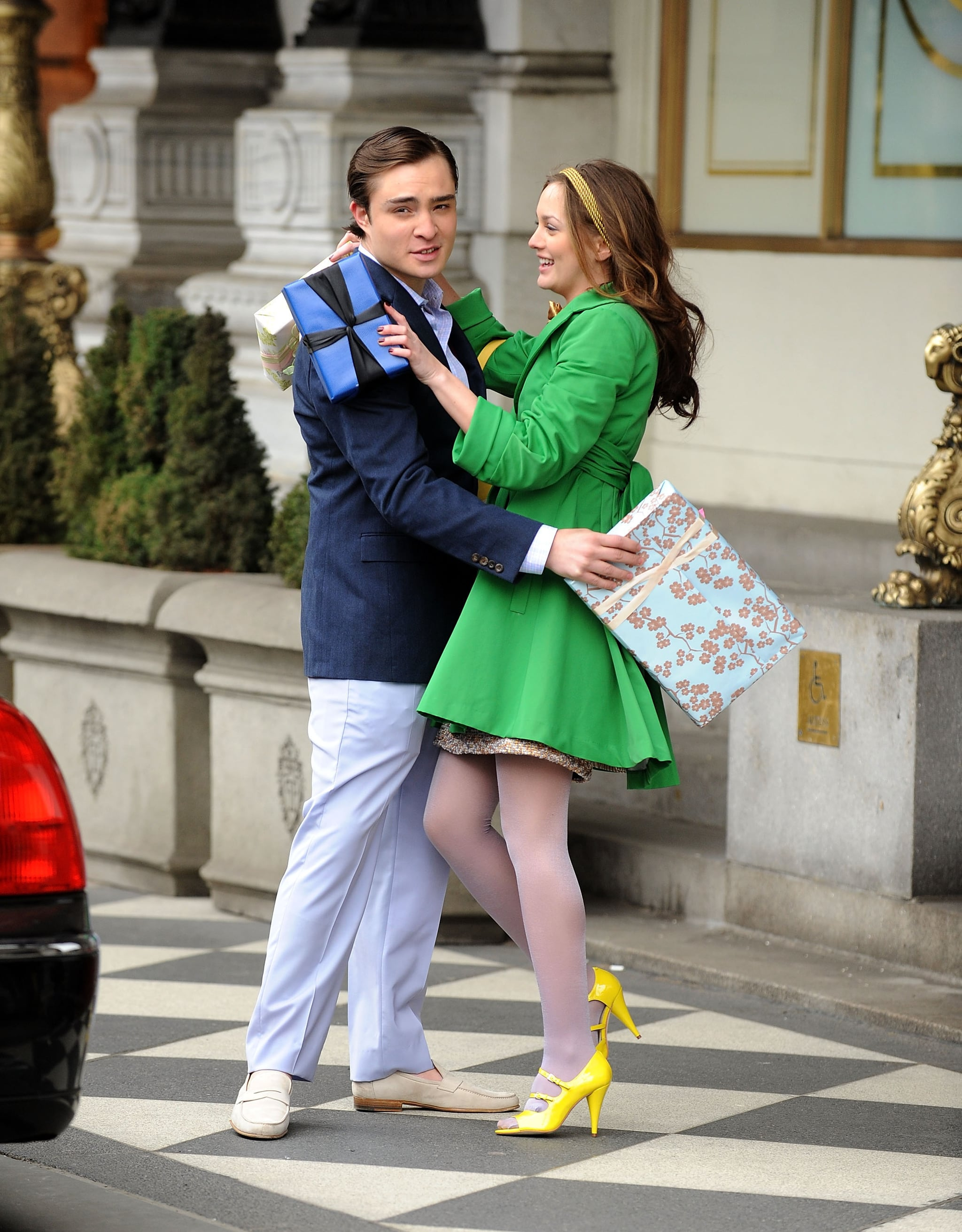 Ed Westwick and Leighton Meester put on their brightest smiles, and coats, for the cameras in March 2009.