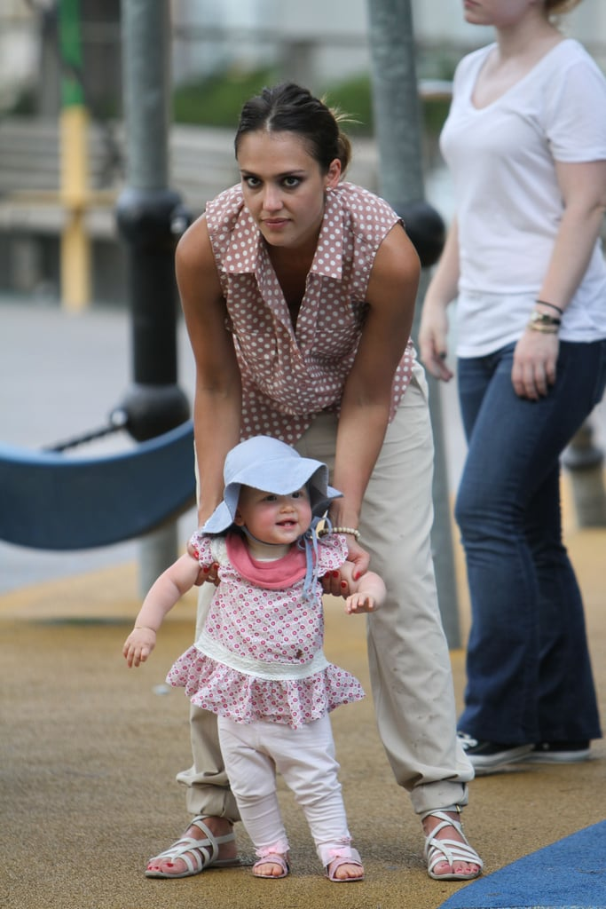 Jessica Alba took her daughter Haven for a few steps in NYC on July 26.